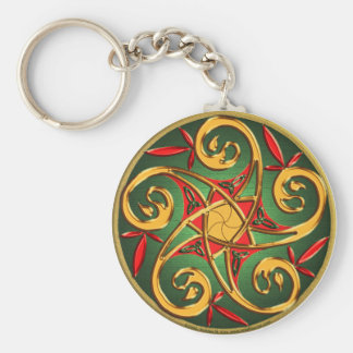 Celtic Pentacle Spiral Basic Round Button Keychain