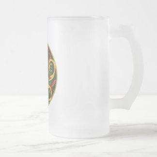 Celtic Pentacle Spiral 16 Oz Frosted Glass Beer Mug