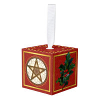 Celtic Pentagram Happy Holidays Gold Monogram Cube Ornament
