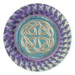 Celtic Platinum Knot on Pastel Fractal Classic Round Sticker