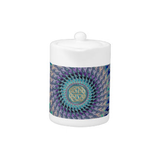 Celtic Platinum Knot on Pastel Fractal Teapot