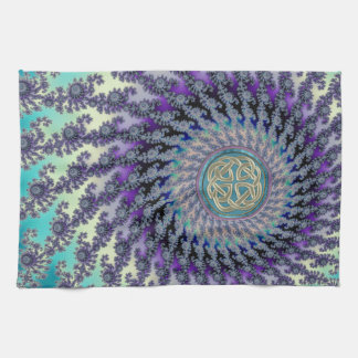 Celtic Platinum Knot on Pastel Fractal Towel
