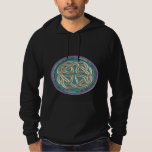 Celtic Platinum Metal Knot on Black Hoodie