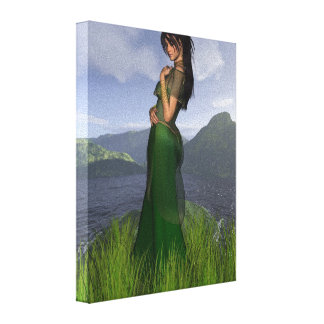 Celtic Princess in the Mountains Canvas Print