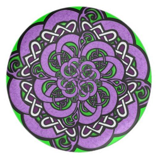 Celtic Purple Green White Pattern Party Plates