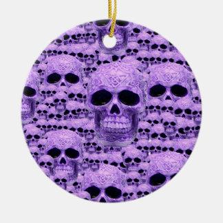 Celtic purple skull collage ceramic ornament