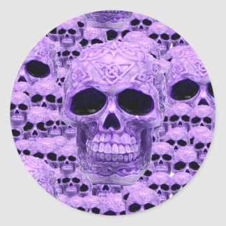 Celtic purple skull collage classic round sticker