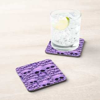 Celtic purple skull collage beverage coaster