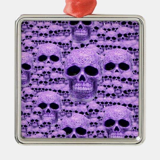 Celtic purple skull collage metal ornament