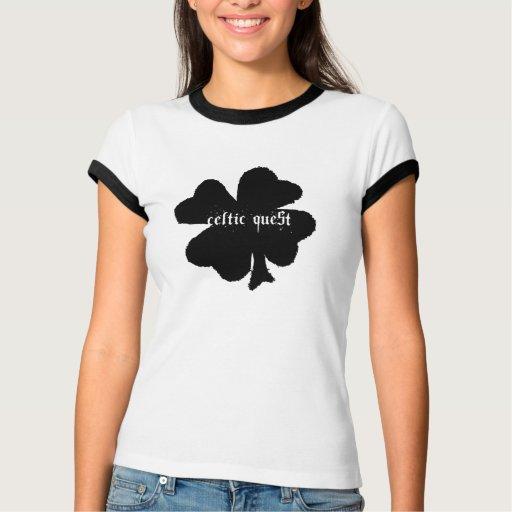 """Celtic Quest """"Black Clover"""" Ladies' Ringer T-Shirt"""