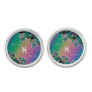 Celtic Rainbow Fractal Zodiac Sign Pisces Cufflinks