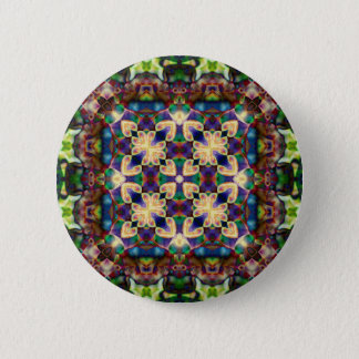 Celtic Rainbow Heart Stained Glass Mandala Pinback Button