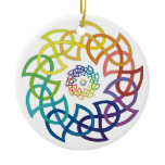 Celtic Rainbow Knotwork Rings Ceramic Ornament