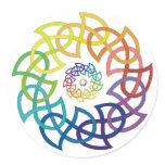 Celtic Rainbow Knotwork Rings Classic Round Sticker