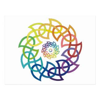 Celtic Rainbow Knotwork Rings Postcard