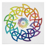 Celtic Rainbow Knotwork Rings Poster