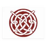 Celtic rojo Knotwork de Borgoña Tarjetas Postales