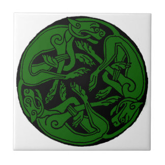 Celtic rond chien green ceramic tile