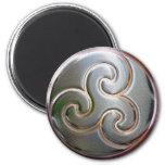 celtic round embossed triskele magnet