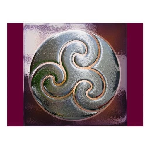 celtic round embossed triskele postcards