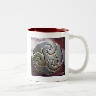 celtic round embossed triskele Two-Tone coffee mug