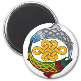 Celtic Salmon 2 Inch Round Magnet