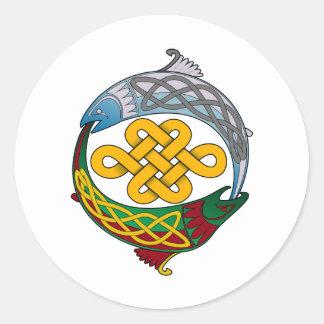 Celtic Salmon Round Stickers