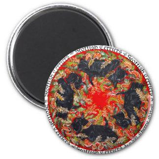 Celtic Scottish Terrier Medallion Fridge Magnets