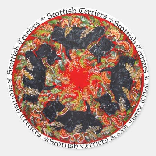 Celtic Scottish Terrier Medallion Classic Round Sticker