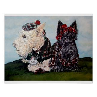 Celtic Scottish Terriers Poster
