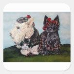 Celtic Scottish Terriers Square Sticker