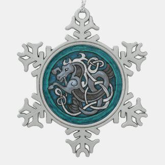 Celtic Sea Horse Snowflake Pewter Christmas Ornament