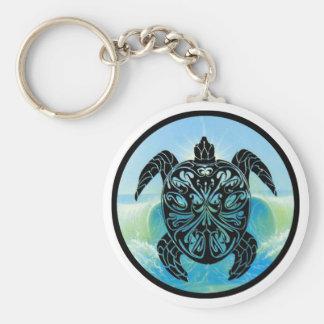 Celtic Sea Turtle Basic Round Button Keychain