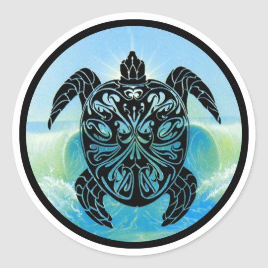 Celtic Sea Turtle Classic Round Sticker