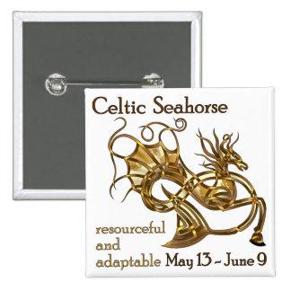 Celtic Seahorse 2 Inch Square Button