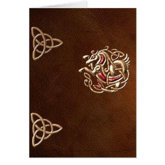 Celtic Seahorse on leather card