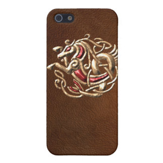 Celtic Seahorse on leather Covers For iPhone 5