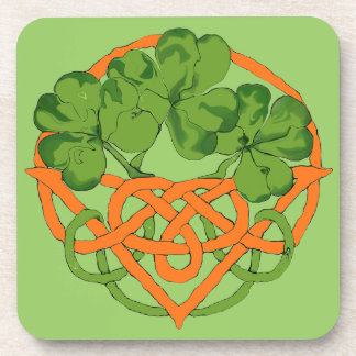 celtic shamrock basket art coaster