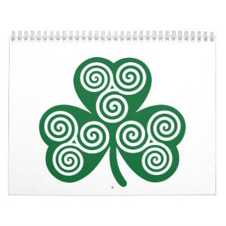 Celtic shamrock calendar