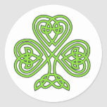 Celtic Shamrock Classic Round Sticker at Zazzle