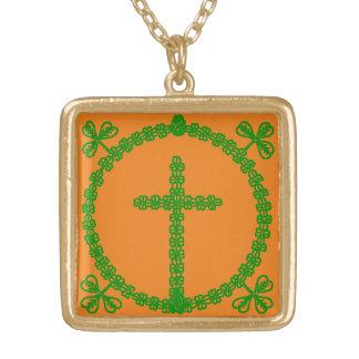 Celtic Shamrock Clover Cross Knot Irish Necklace