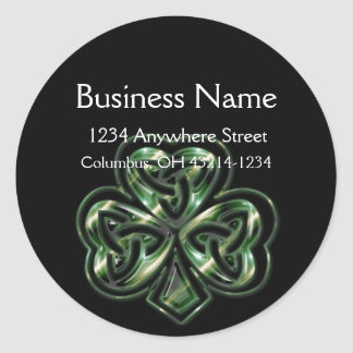 Celtic Shamrock Design 2 Round Address Labels Classic Round Sticker