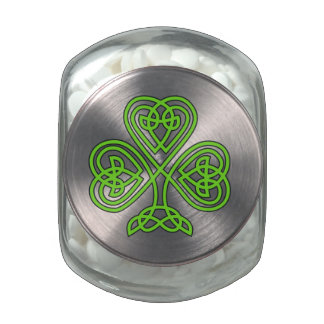 Celtic Shamrock Design Glass Jar