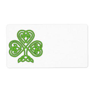 Celtic Shamrock Design Label