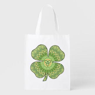 Celtic Shamrock Reusable Grocery Bag
