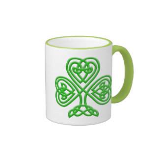 Celtic Shamrock Ringer Coffee Mug
