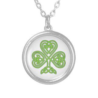 Celtic Shamrock Silver Plated Necklace