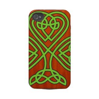 Celtic Shamrock, Wood Grain iPhone 4 Case