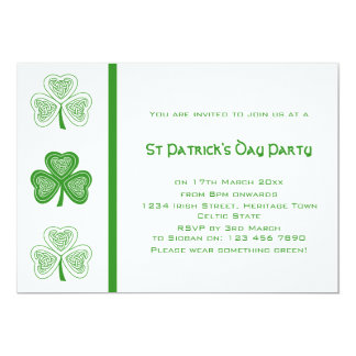Celtic Shamrocks St Patricks Day Party Invitations
