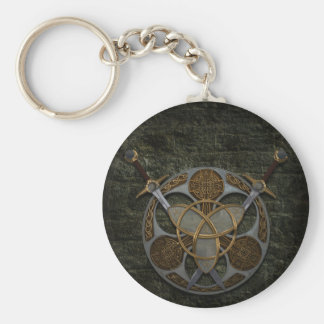 Celtic Shield and Swords Basic Round Button Keychain